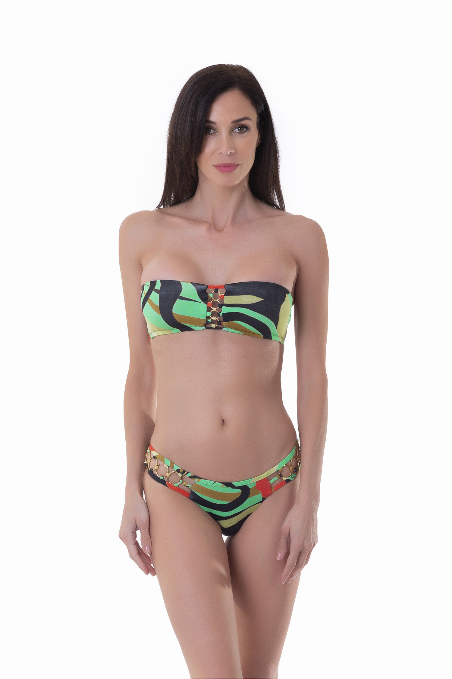 BANDEAU BIKINI RINGS PRINTED - Seventies Acqua