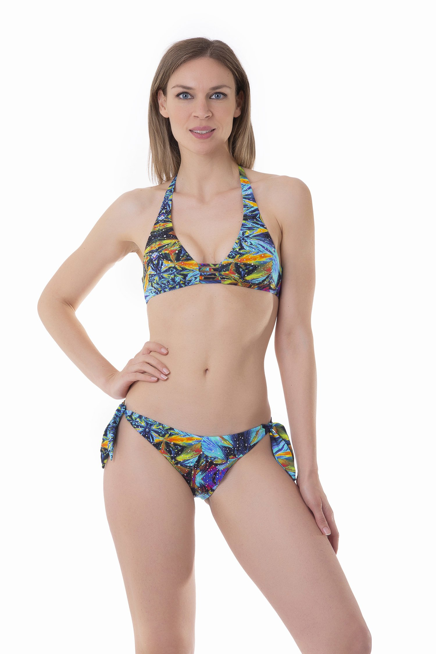 BIKINI HALTER STRINGS STRASS PRINTED - Blue Kaleidoscope
