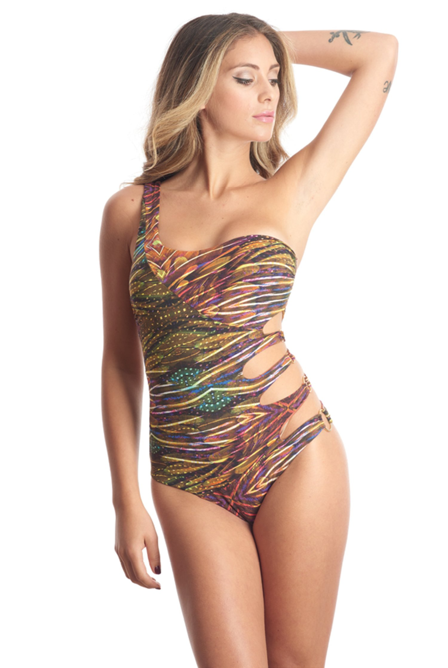 ONE SHOULDER ONEPIECE PRINTED - Plumage Ambra