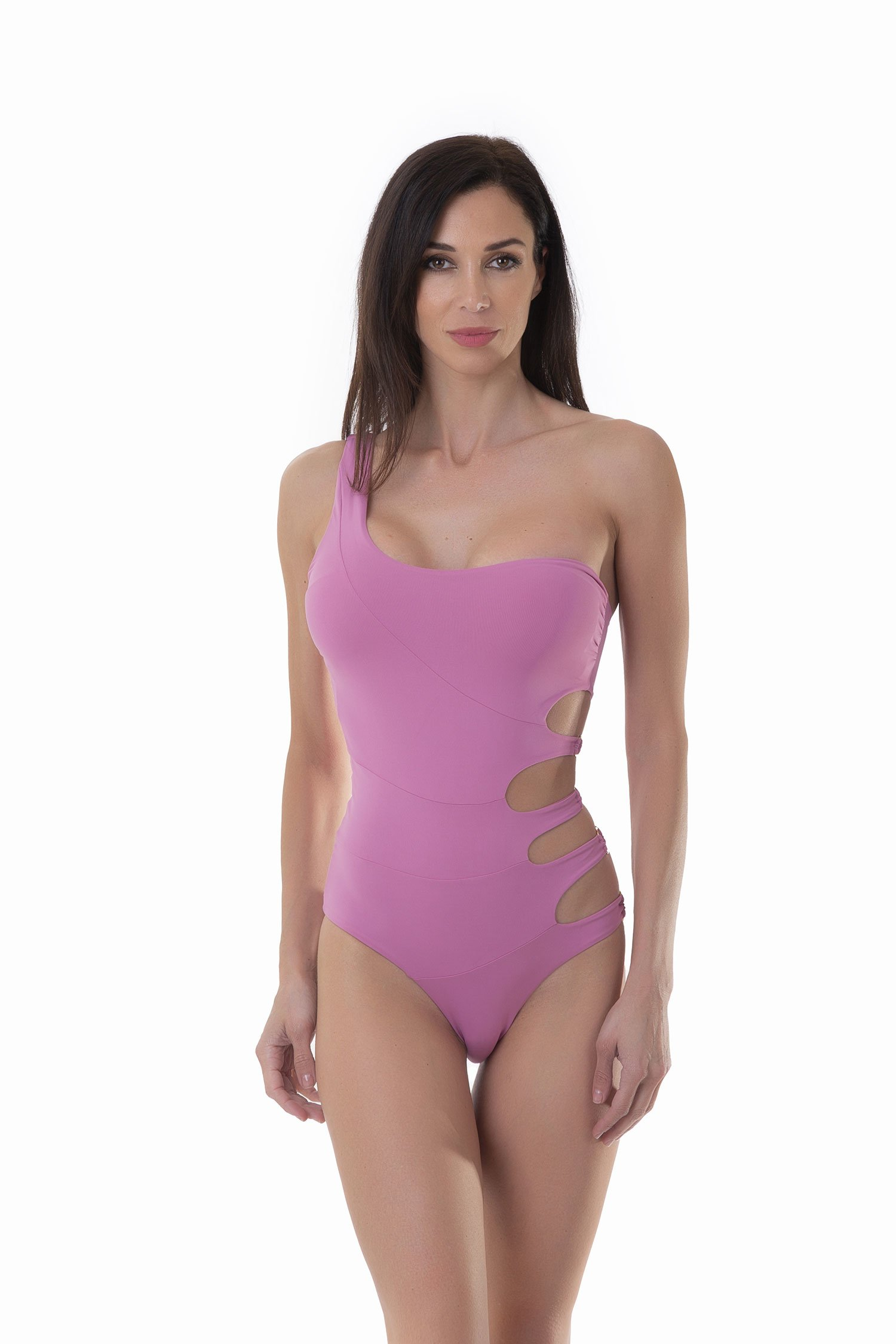 ONE SHOULDER ONEPIECE SOLID COLOR - Pink