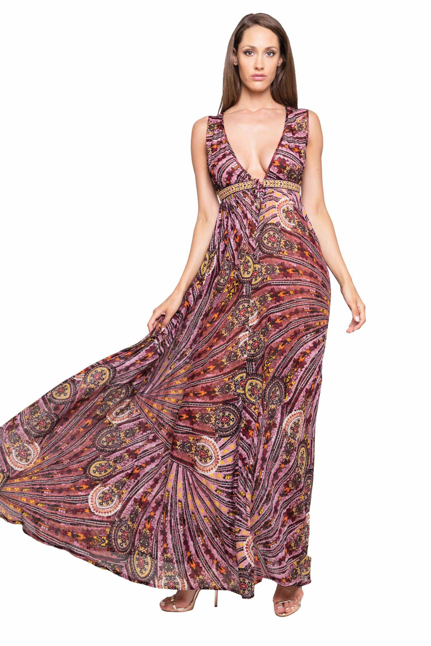 LONG DRESS EMPIRE EMBROIDERY THREAD - Cachemire Rosa