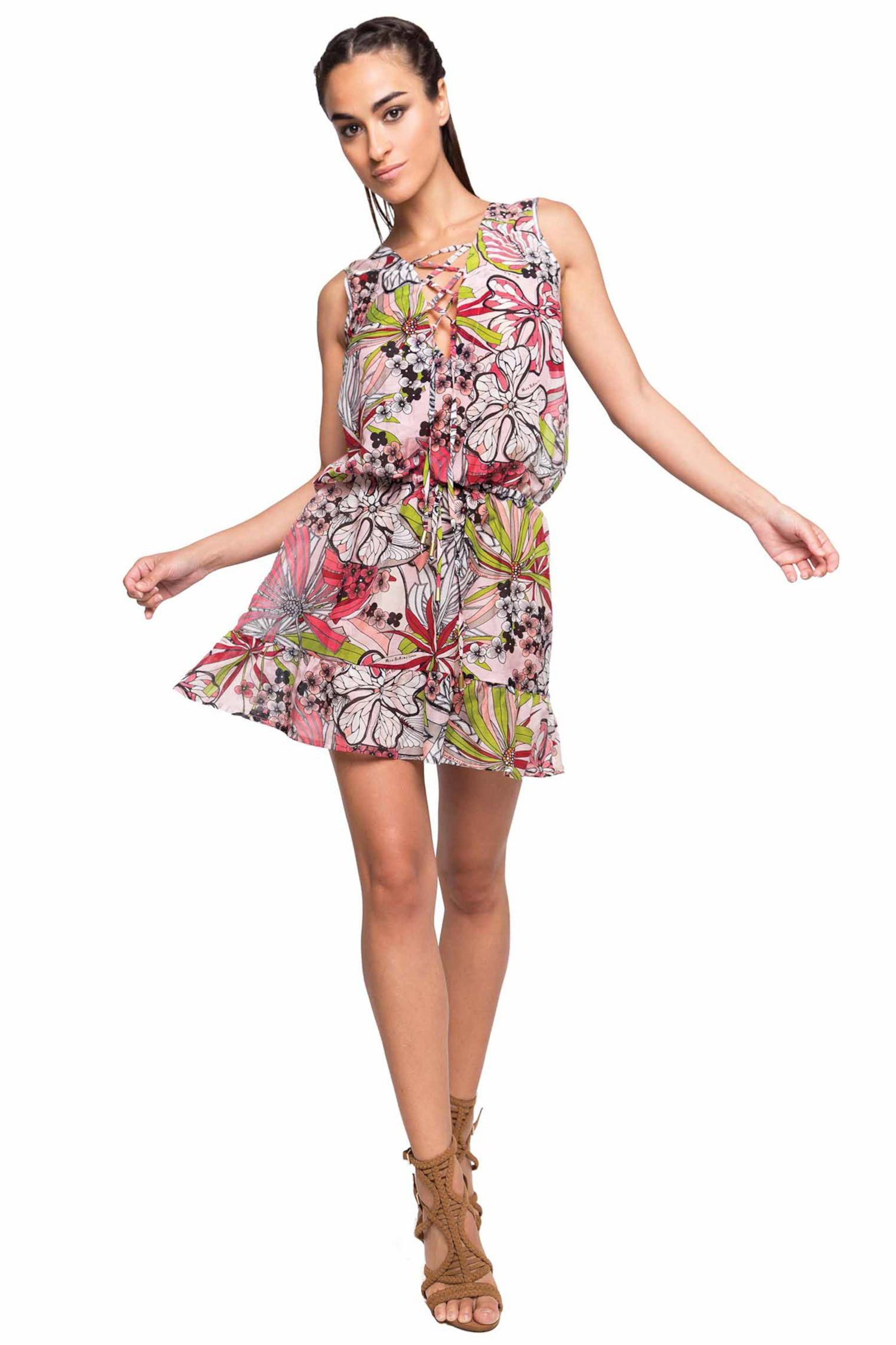 SHORT DRESS FRILLS STRINGED NECK - Fiori Rosa