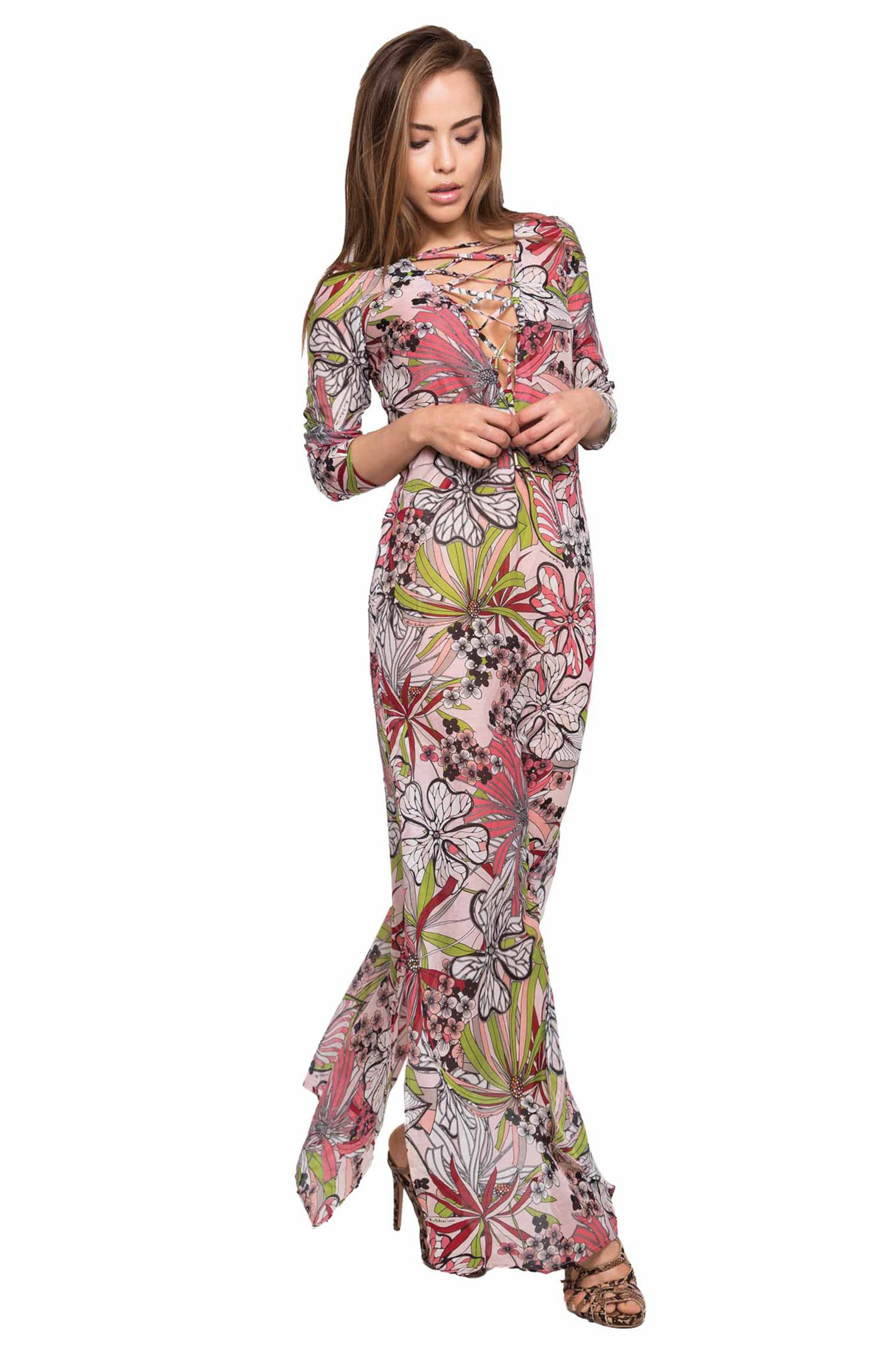 LONG KAFTAN STRINGED NECKLINE - Fiori Rosa