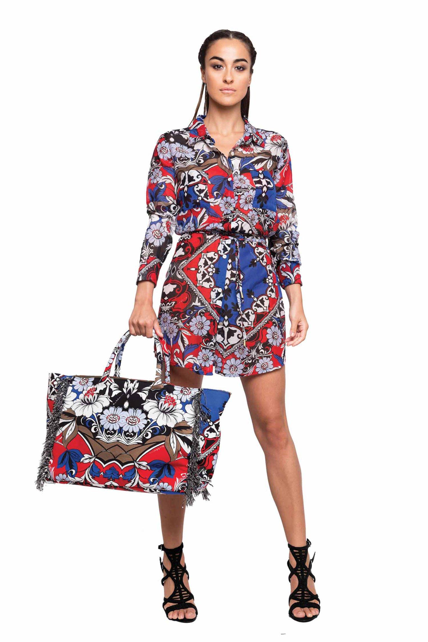 SHORT DRESS CASHMERE - Bandana Blu