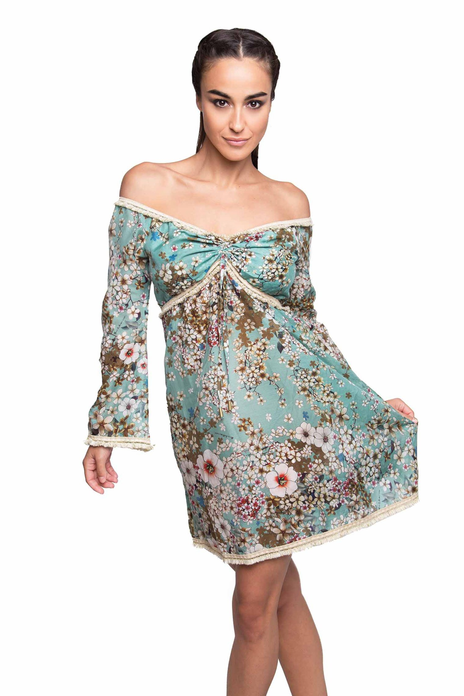 SHORT KAFTAN EMBROIDERY THREAD SPRING - Primavera Azzurro