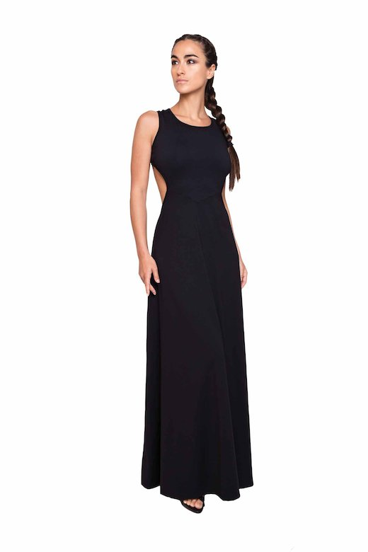 LONG DRESS LATERAL SLITS - Microfibra Nero