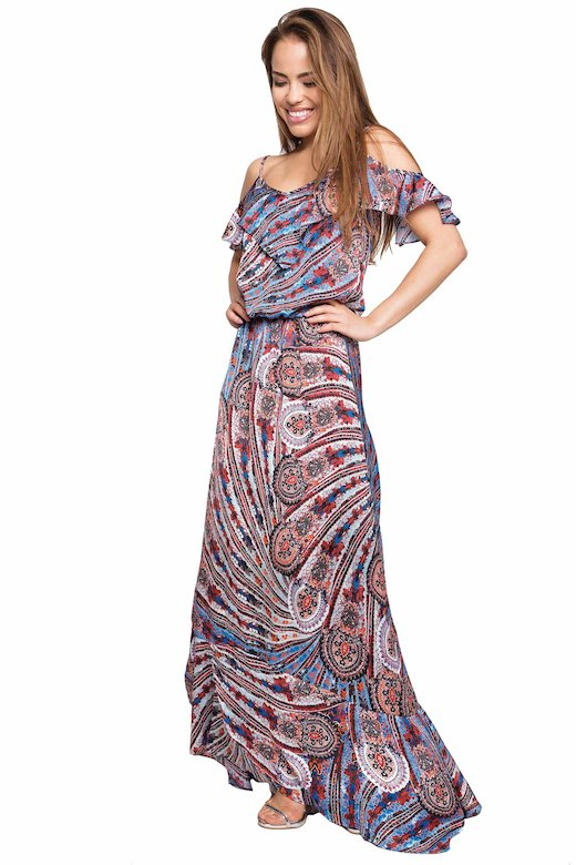TOP LONG DRESS WITH FRILLS - Cachemire Celeste