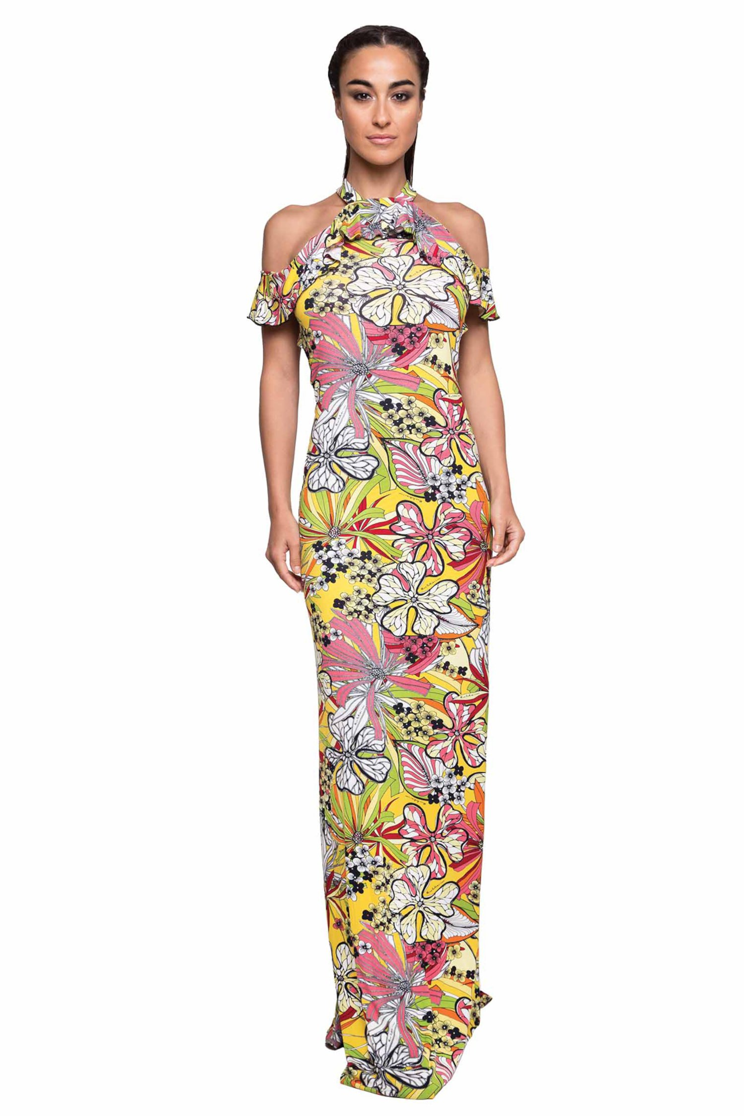 LONG TOP DRESS AND VOLANT - Fiori Rosa