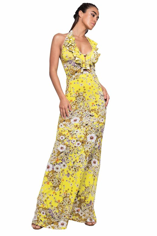 LONG DRESS HALTER WITH VOLANT