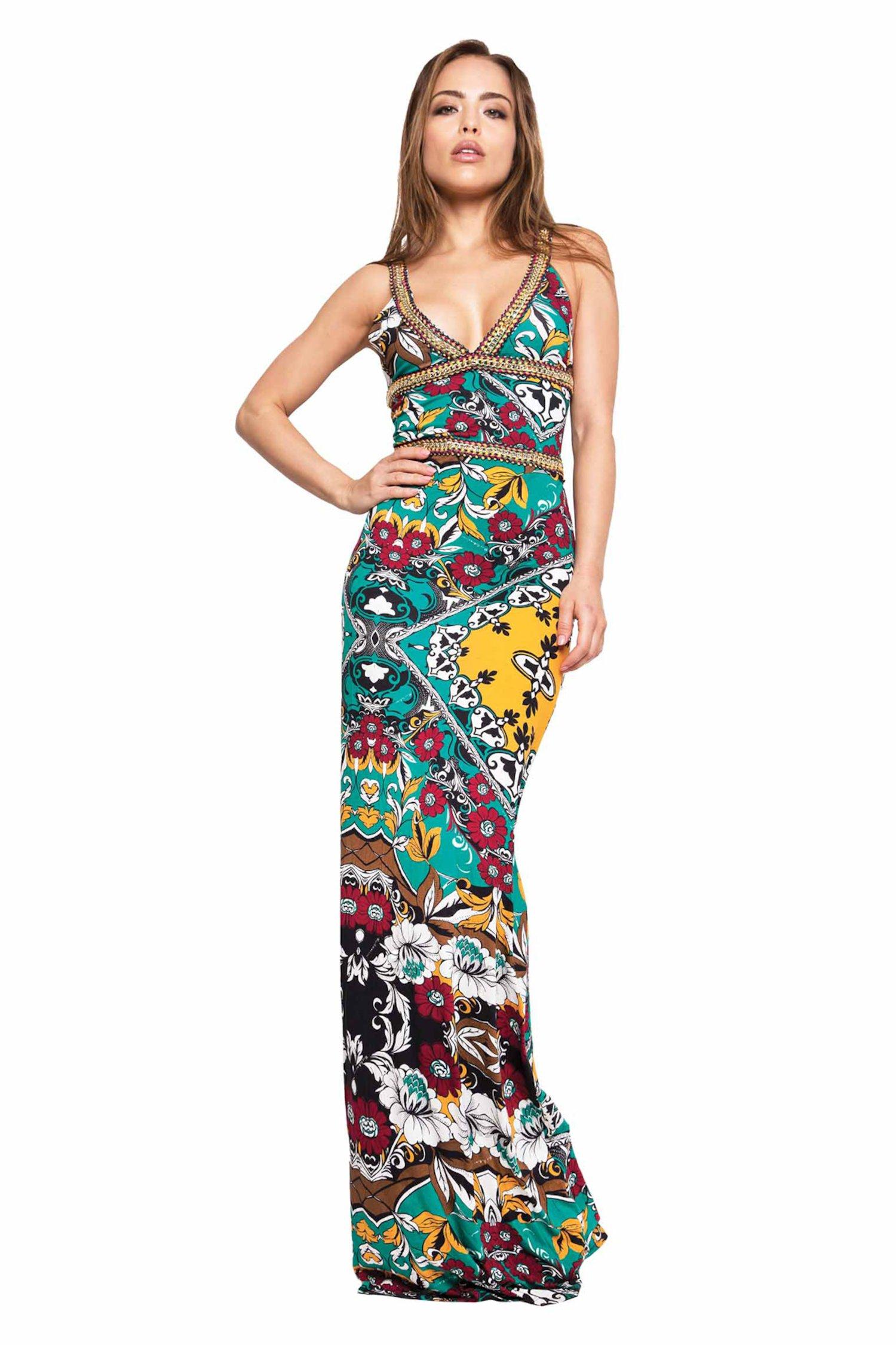 LONG GOLD CHAINS DRESS - Bandana Verde