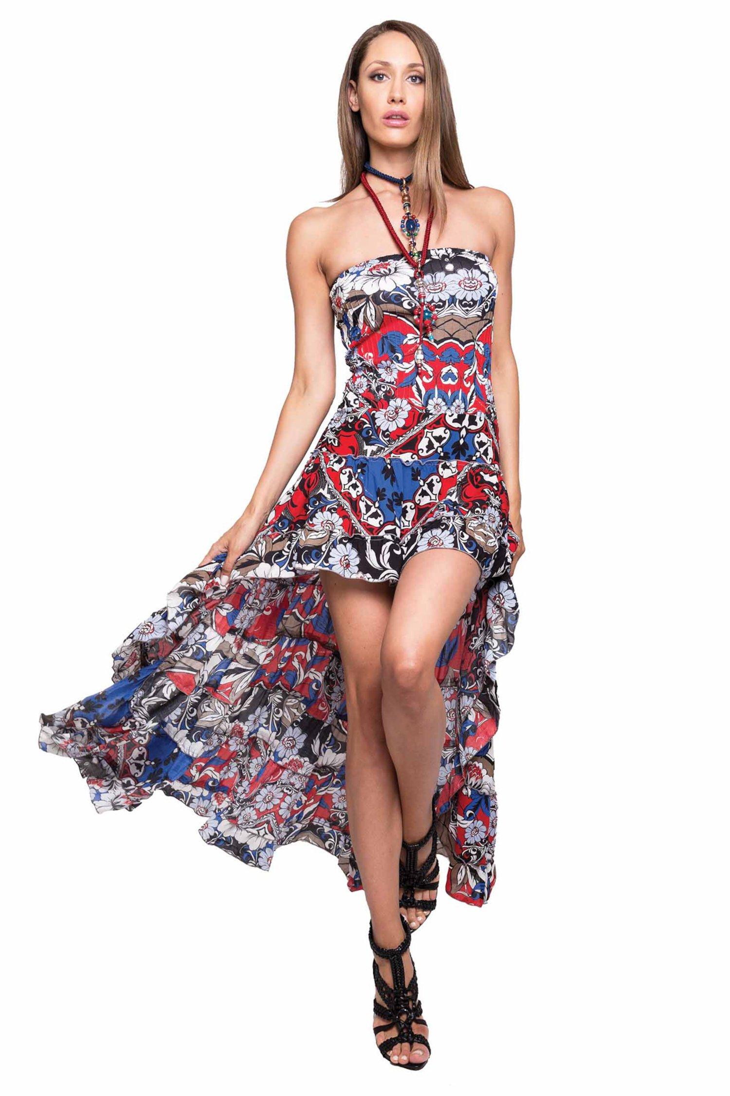 LONG ASYMMETRIC DRESS - Bandana Blu