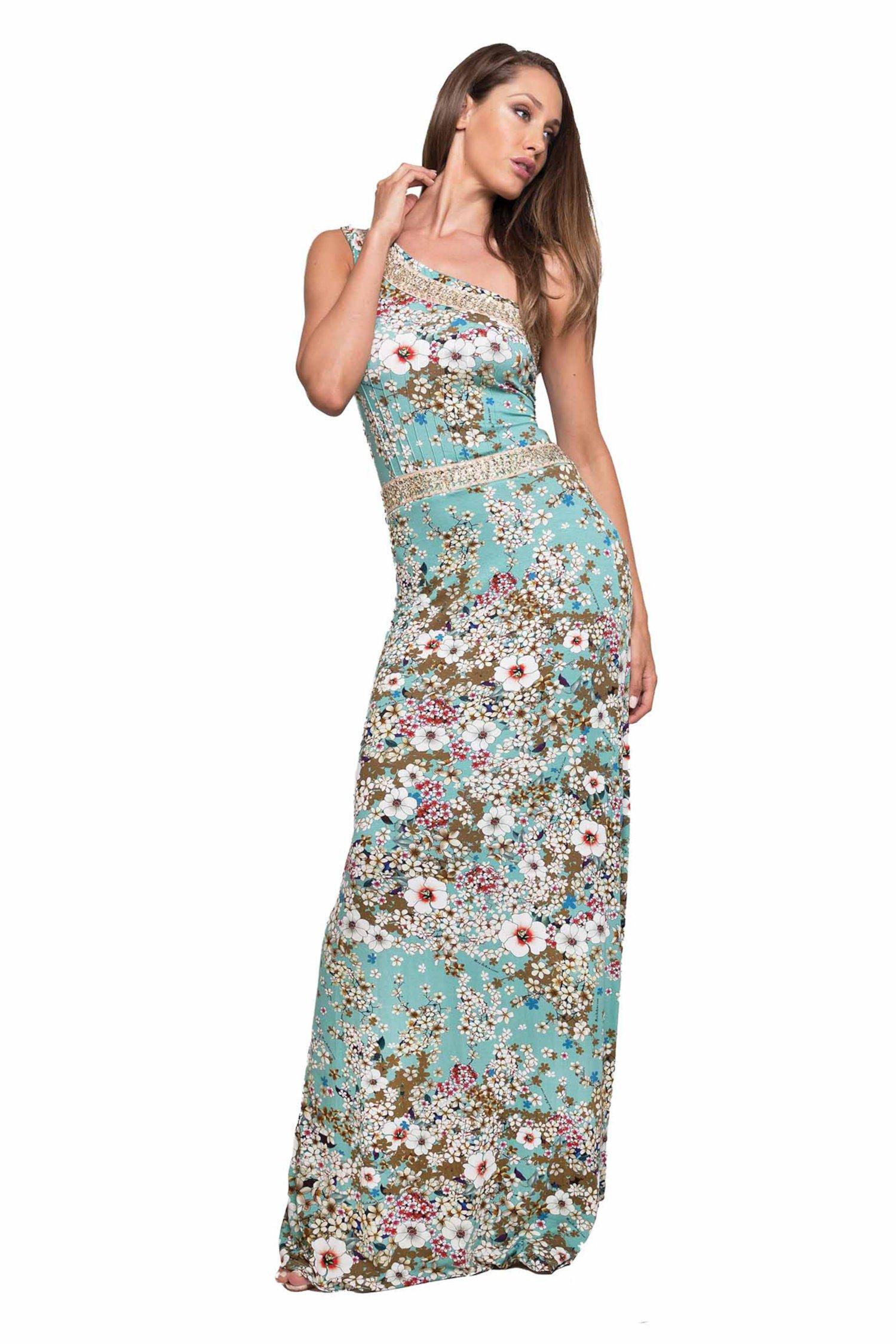 LONG DRESS ONE SHOULDER - Primavera Azzurro