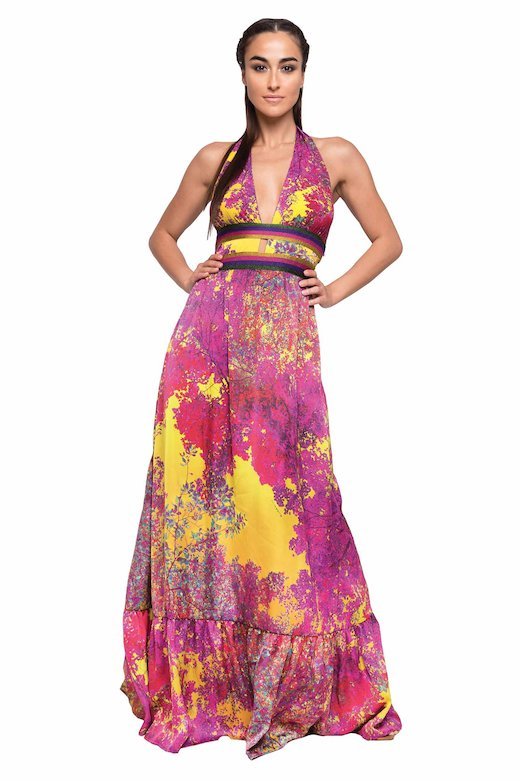 LONG DRESS HALTER COPS WITH TREES - Albero Giallo