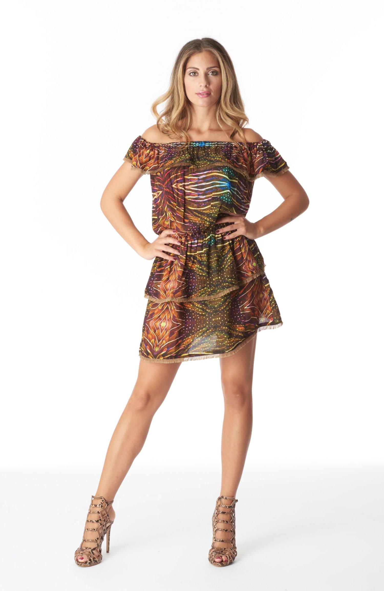 SHORT DRESS FLOUNCES - Plumage Ambra