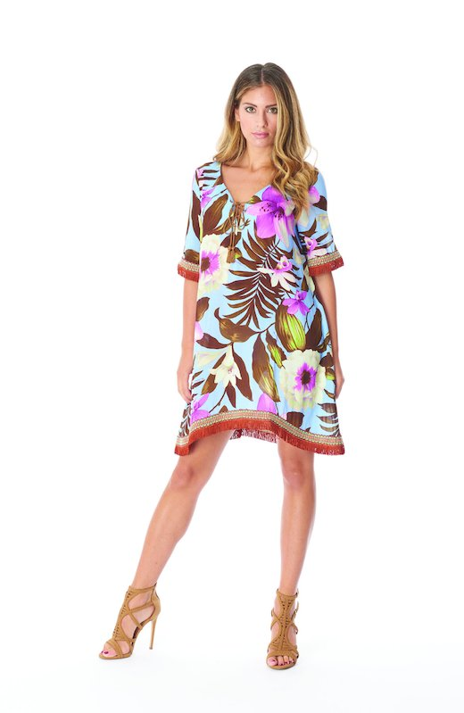 KAFTAN FRINGES - Tropical Flowers Periwinkle