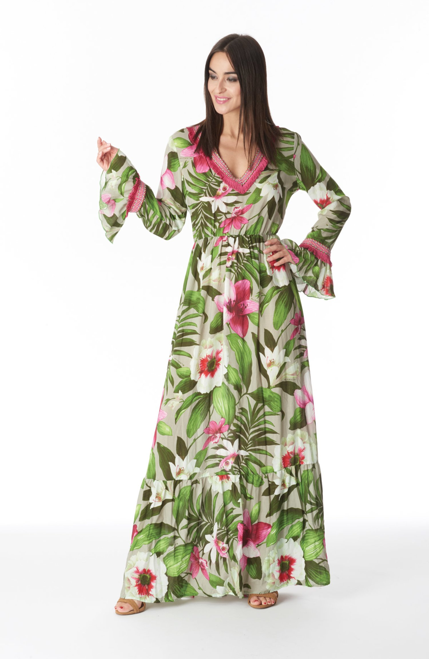 LONG KAFTAN WITH TRIMMINGS - Tropical Flowers Beige