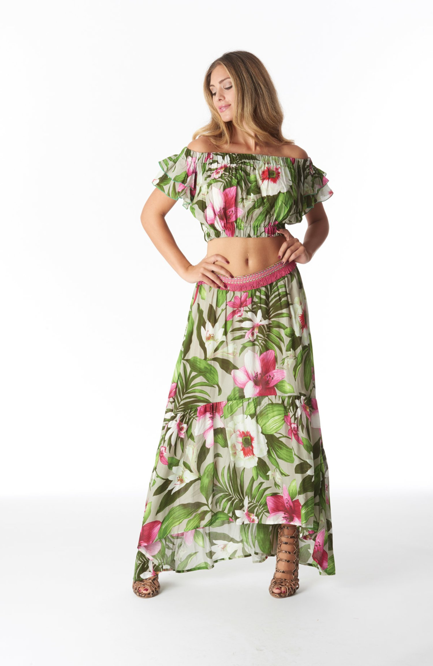 LONG SKIRT TRIMMINGS BELT - Tropical Flowers Beige