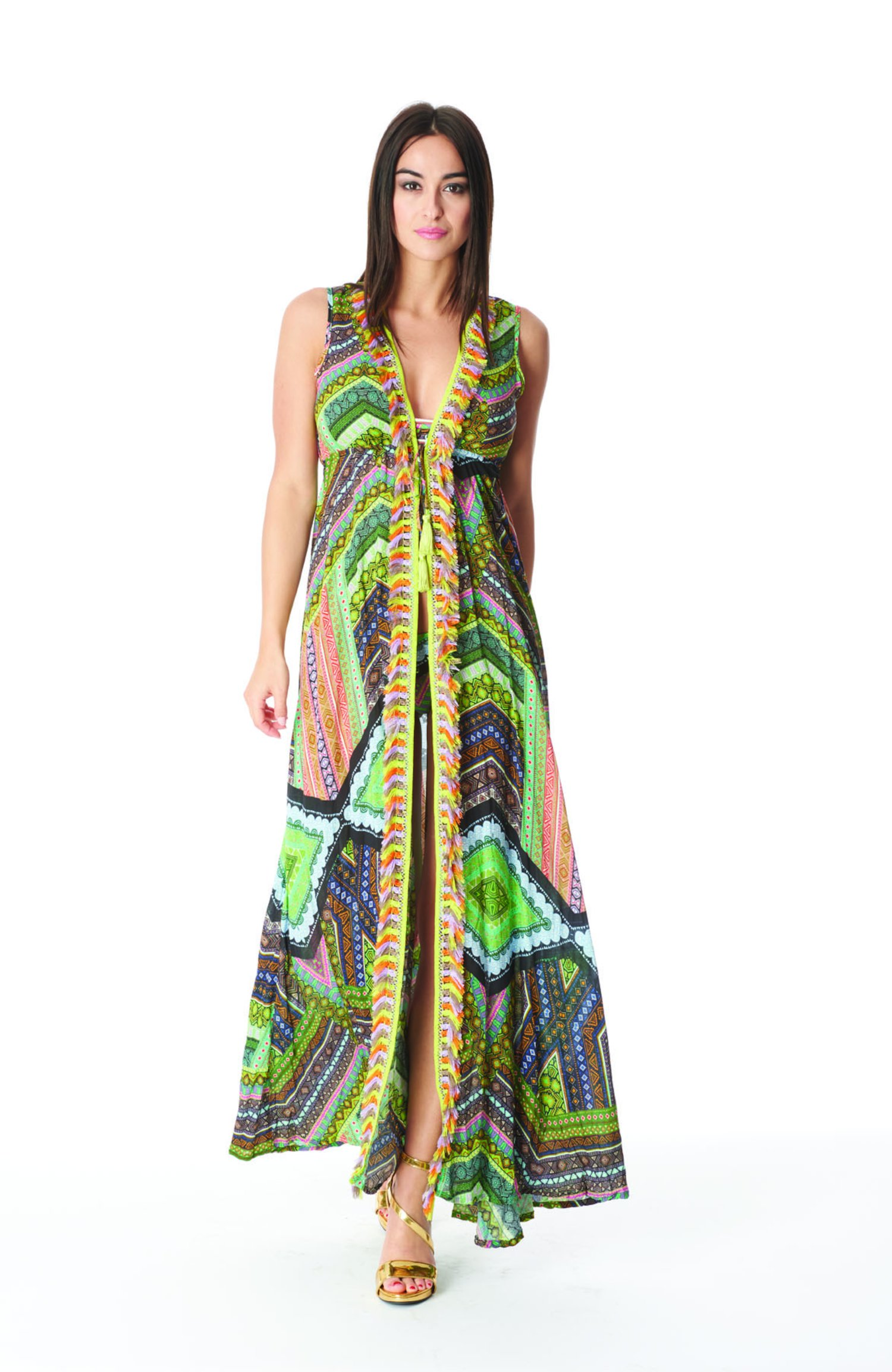 LONG DRESS WITH MULTICOLORED FRINGES - Green