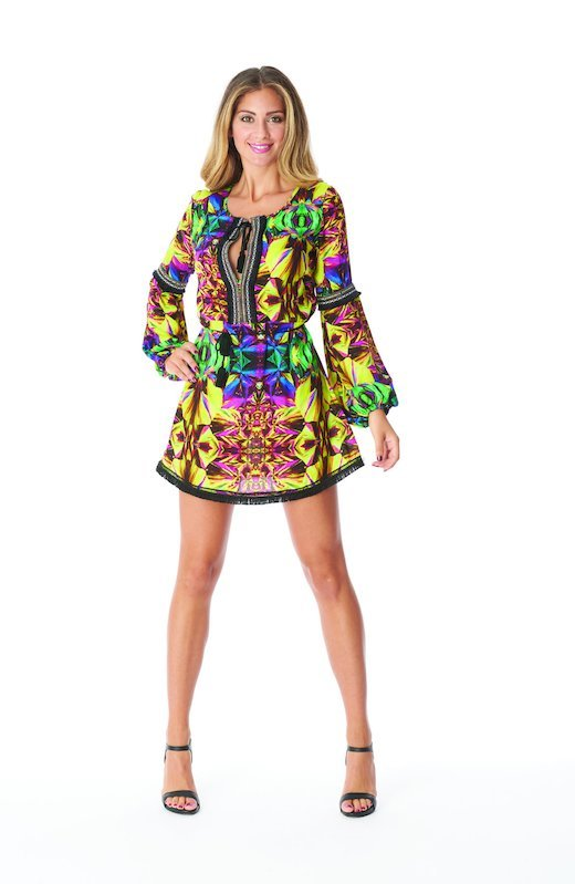 SHORT KAFTAN  WITH TRIMMINGS AND BELT - Yellow Kaleidoscope