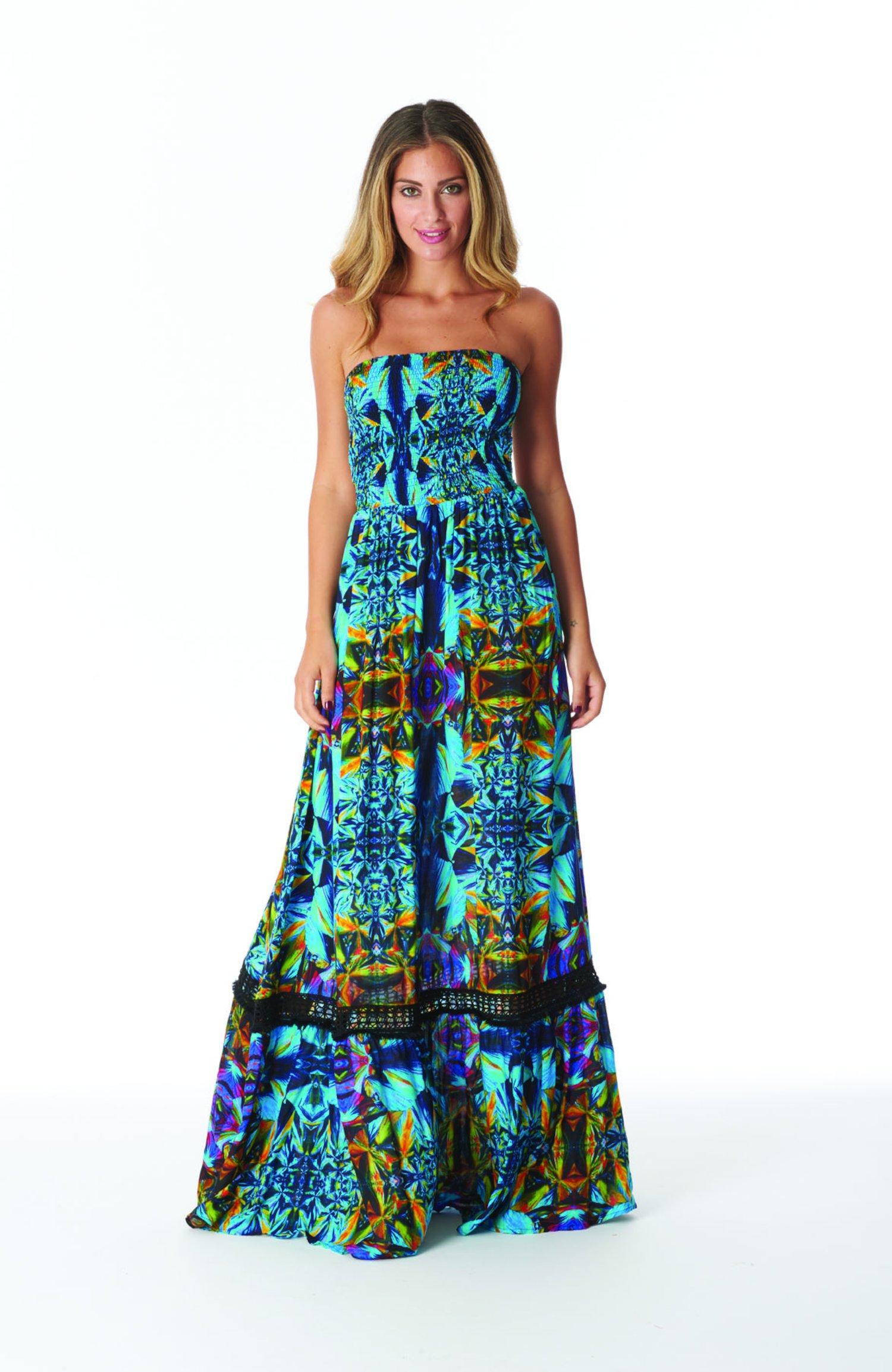 LONG DRESS WITH CORSAGE - Blue Kaleidoscope