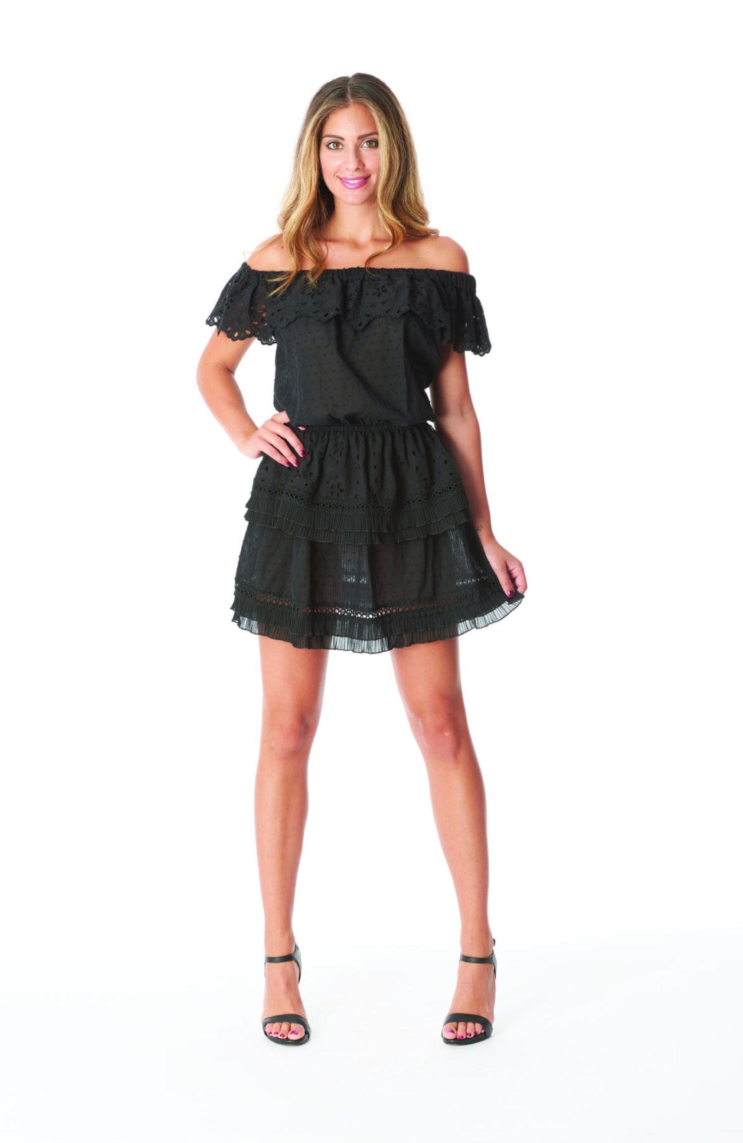 SHORT DRESS FLOUNCES - Black
