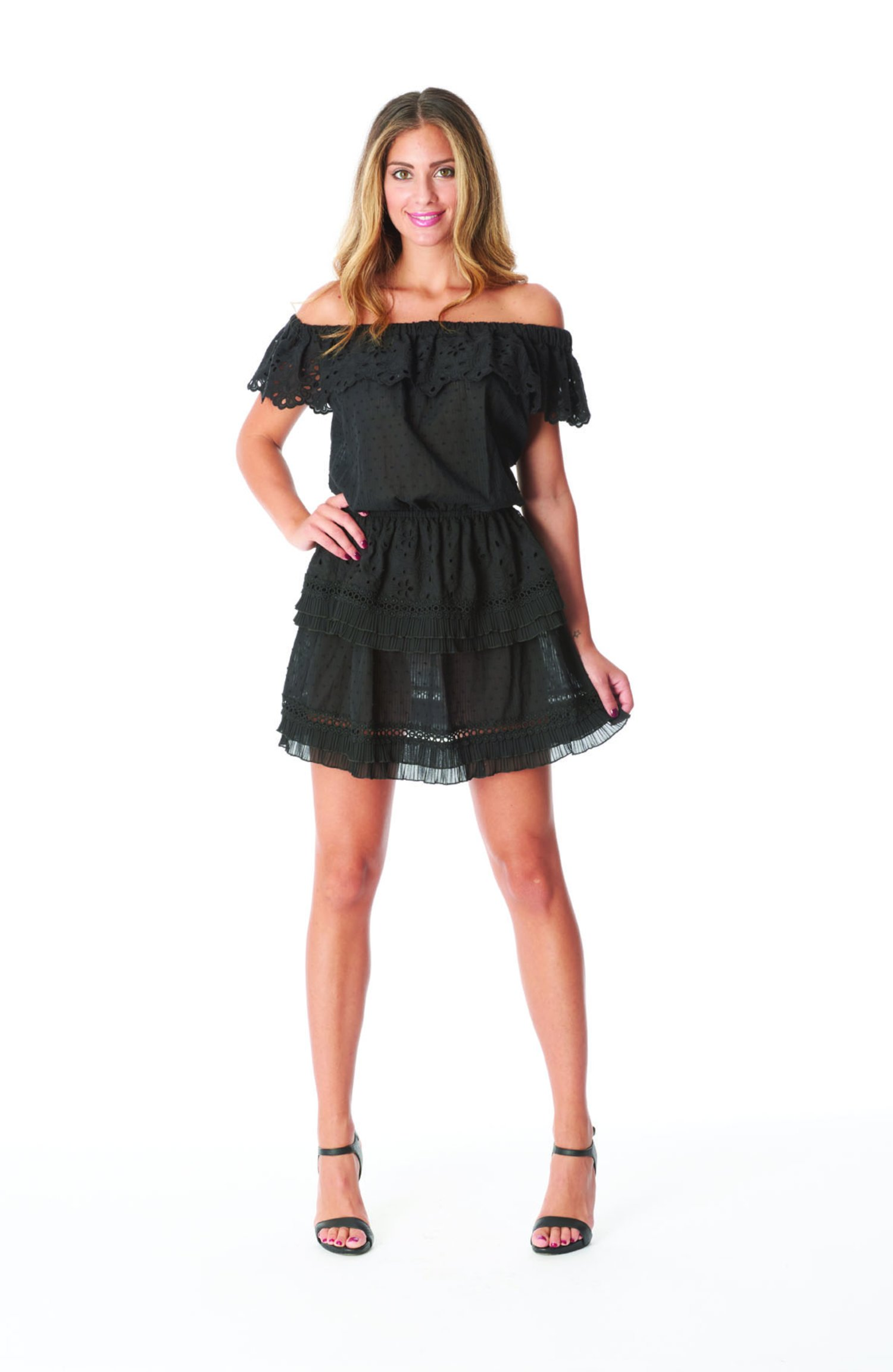SHORT DRESS FLOUNCES - Black