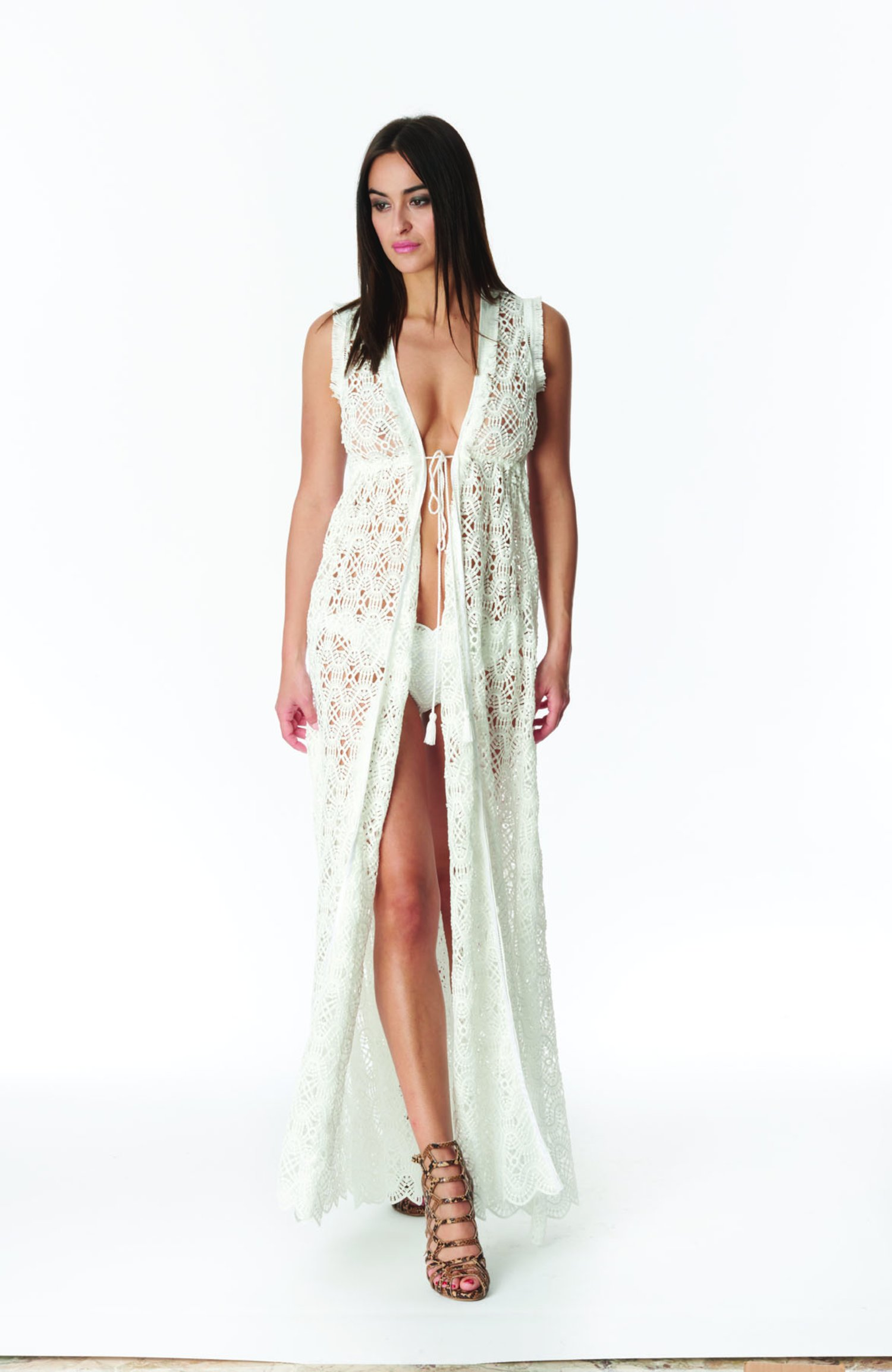 DRESSING GOWN LONG LACE - Pizzo Bianco