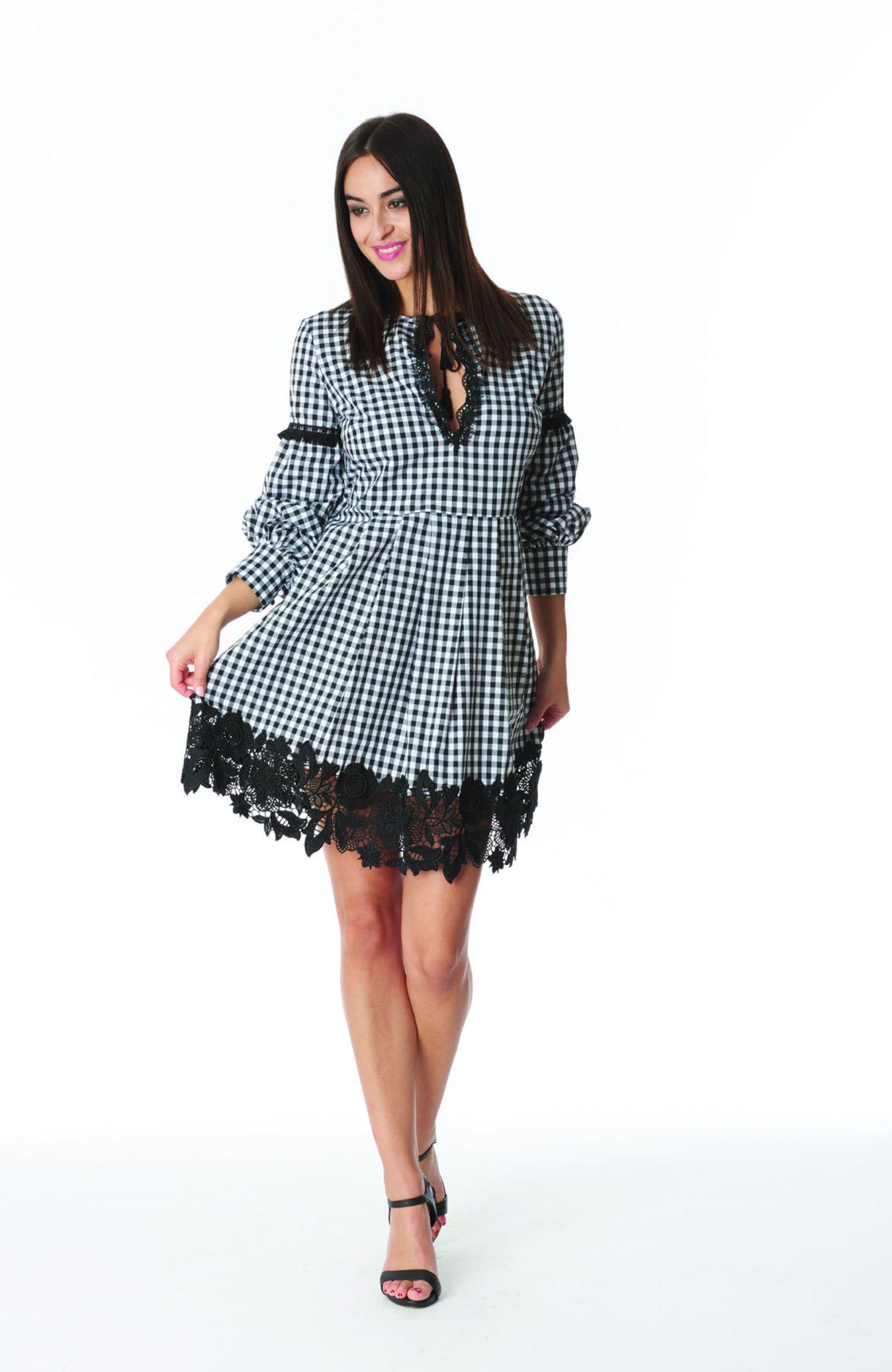 SHORT DRESS KAFTAN VICHY - Vichy Bianco Nero