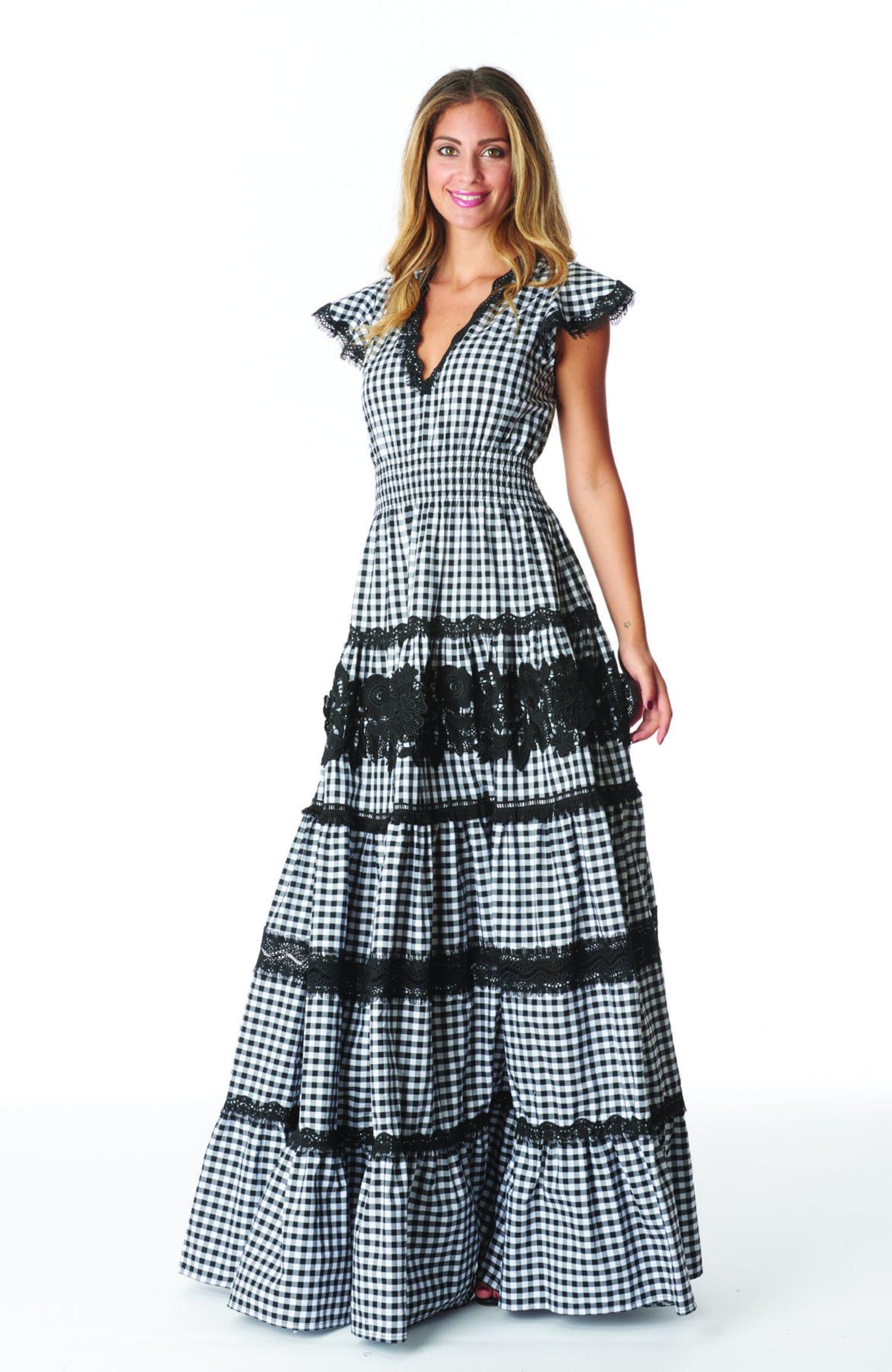 LONG DRESS FLOUNCES VICHY - Vichy Bianco Nero