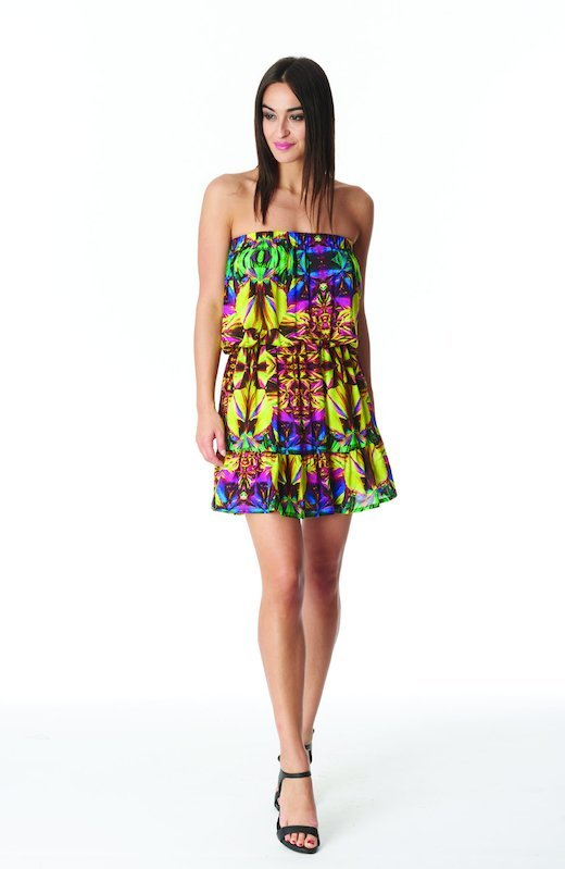 MINI DRESS TOP - Yellow Kaleidoscope