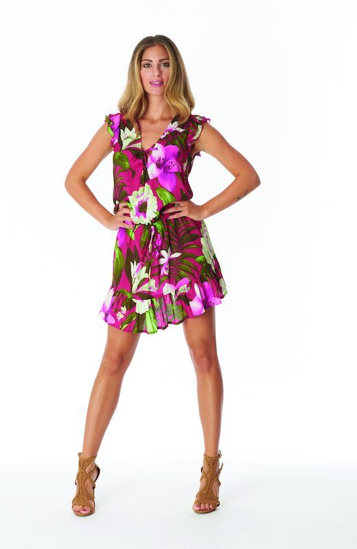 MINI SLEEVE DRESS FROU FROU - Tropical Flowers Cyclamen