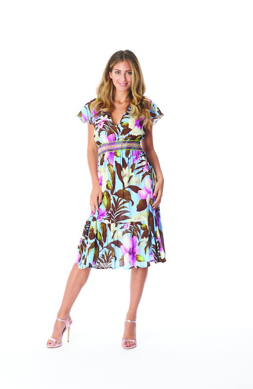 LONGUETTE DRESS TRIMMINGS - Tropical Flowers Periwinkle