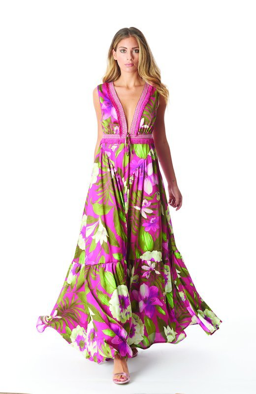 LONG DRESS TRIMMINGS FRINGES - Tropical Flowers Cyclamen