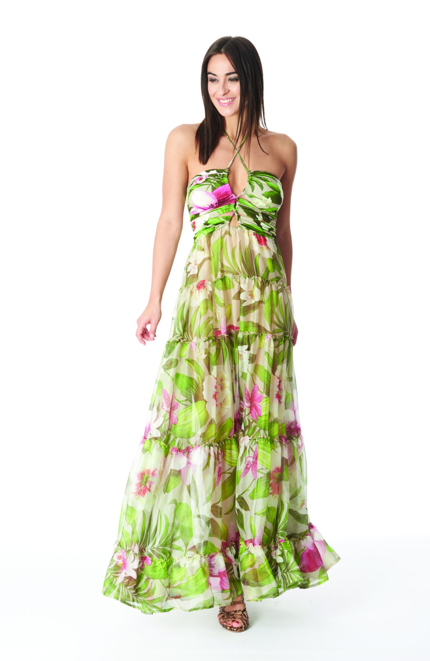 SILKY LONG DRESS CORROSIDE CROSS - Tropical Flowers Beige
