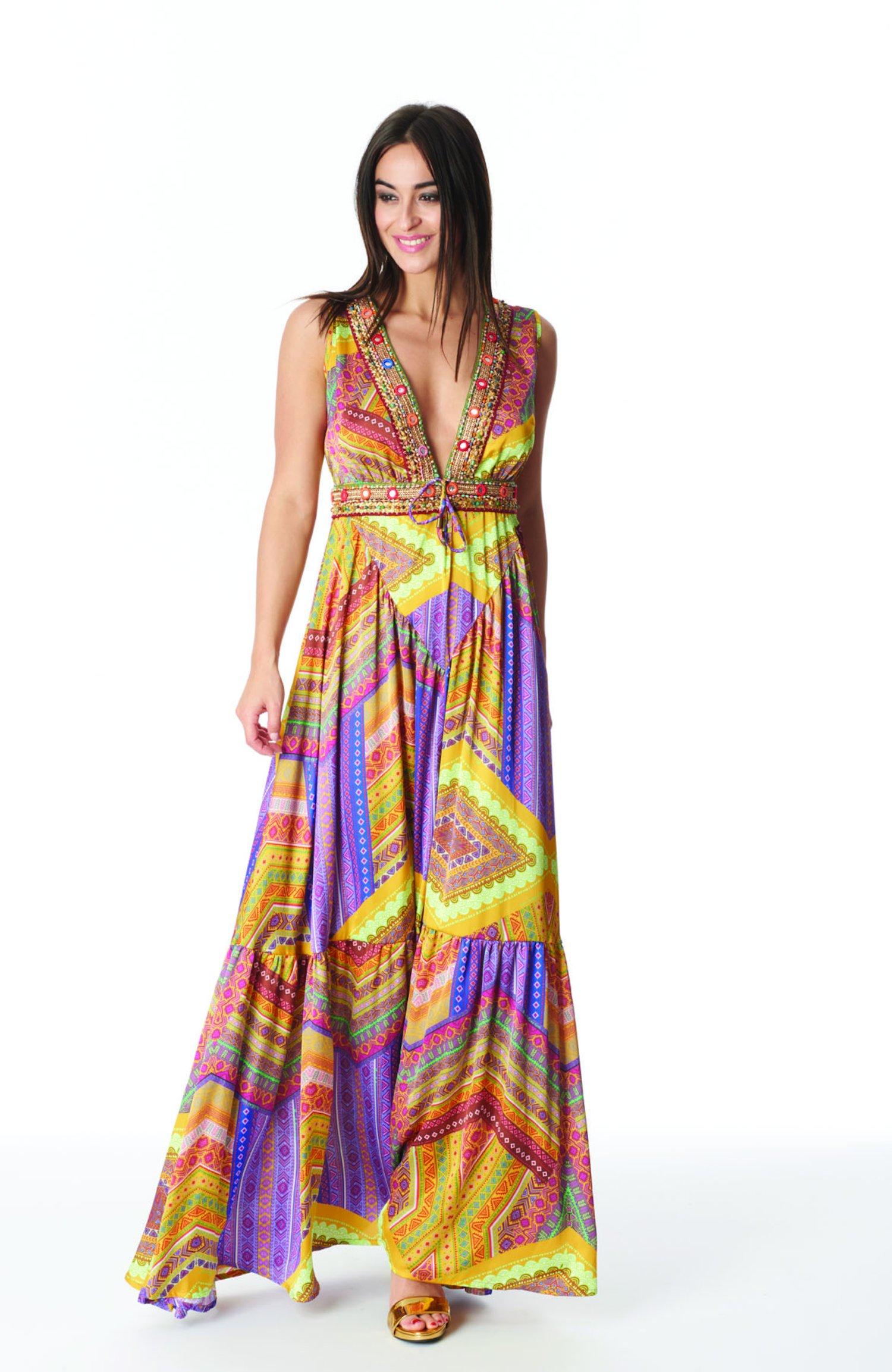 SATIN LONG DRESS WITH TRIMMING - Orange