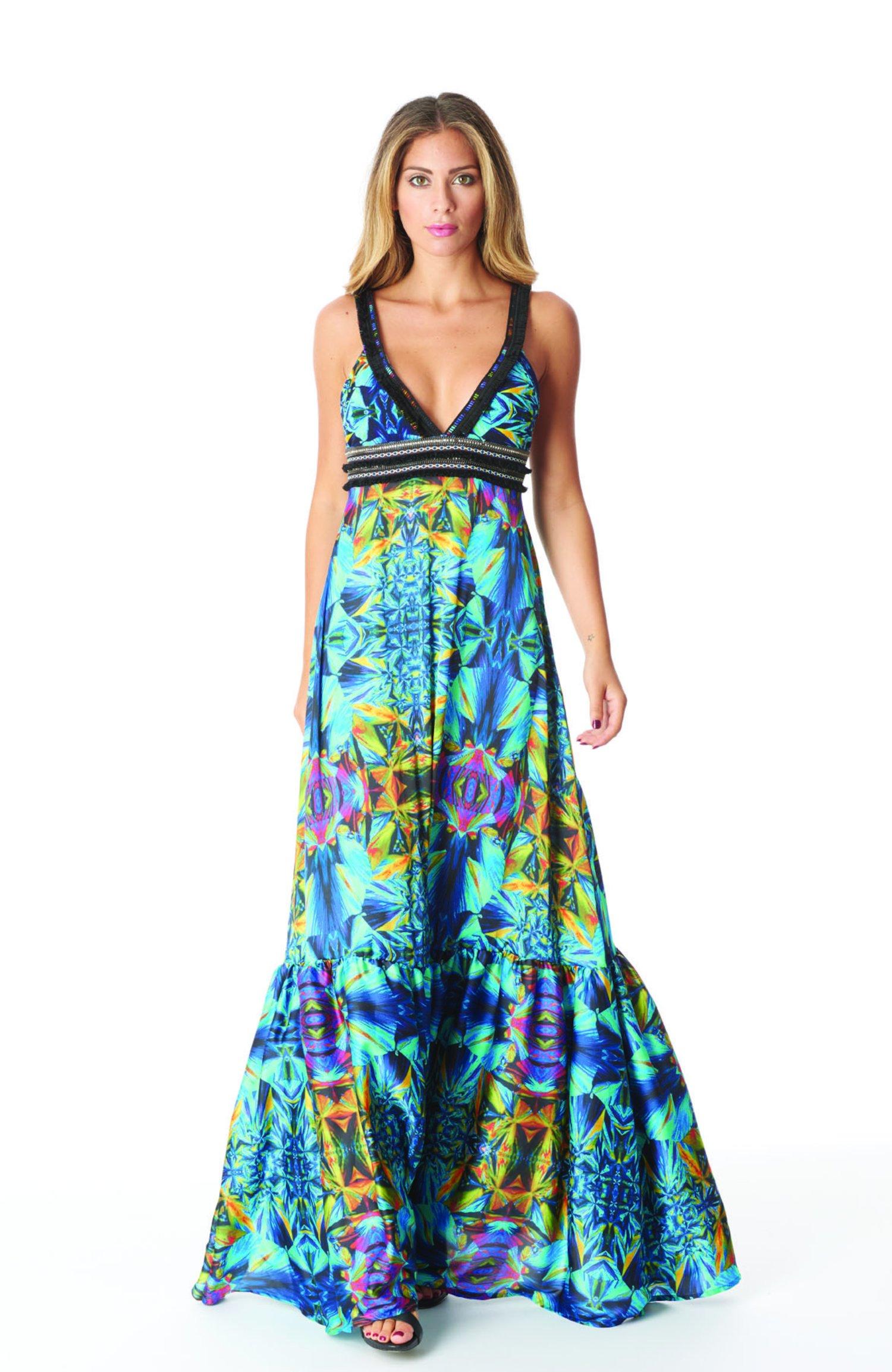 LONG DRESS CORSAGE - Blue Kaleidoscope