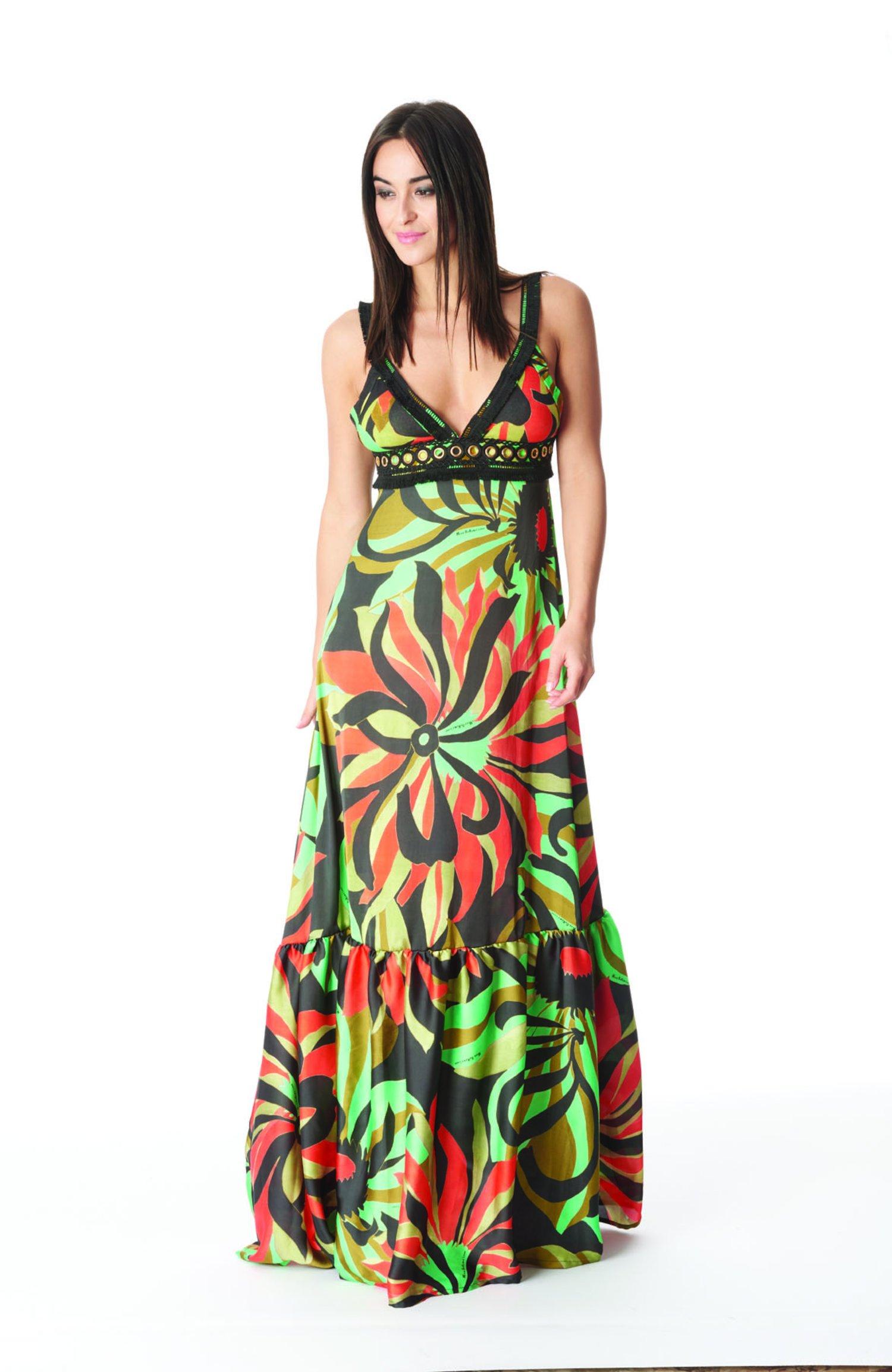 LONG DRESS CORSAGE - Seventies Acqua