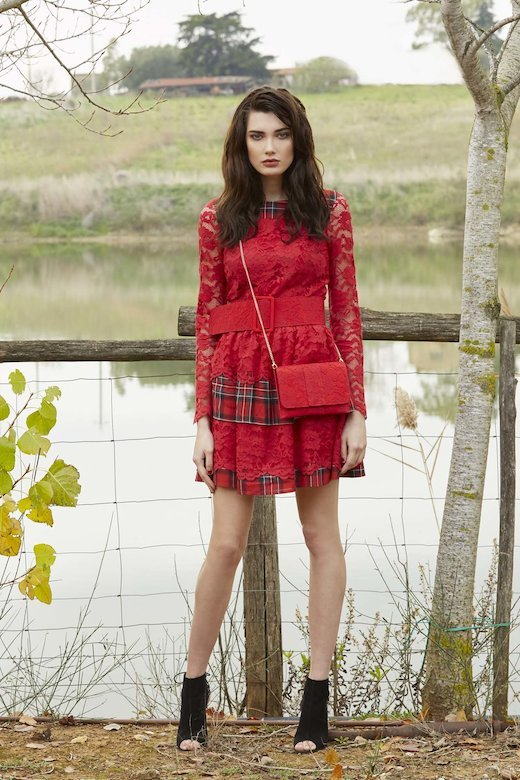 LACE DRESS AND TARTAN WITH BELT