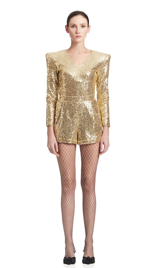 BODYSUIT V-NECK GOLD SEQUINS