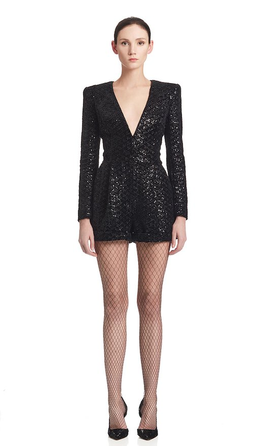 SHORT SUIT SEQUINED VELVET - Nero