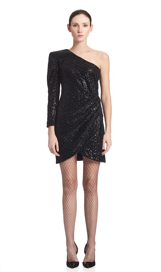ONE SHOULDER SHORT DRESS SEQUINED VELVET