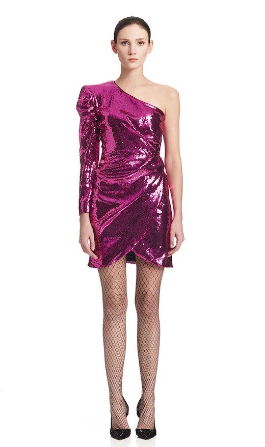 ONE-SHOULDER SHORT DRESS FUCHSIA SEQUINS
