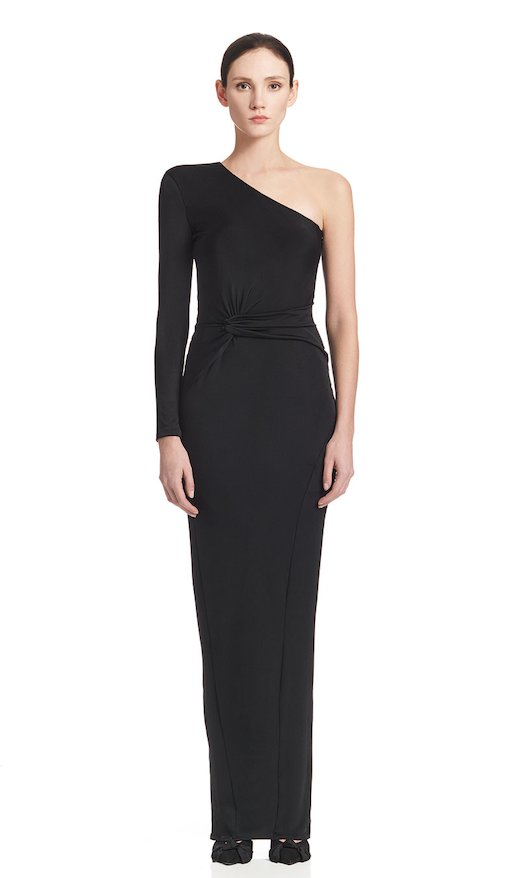 ONE-SHOULDER LONG DRESS JERSEY VISCOSE - Nero