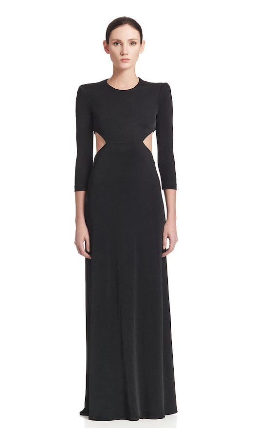 LONG DRESS CUTS ON HIPS JERSEY VISCOSE