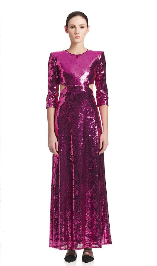 LONG DRESSCCUTS ON HIPS FUCHSIA SEQUINS