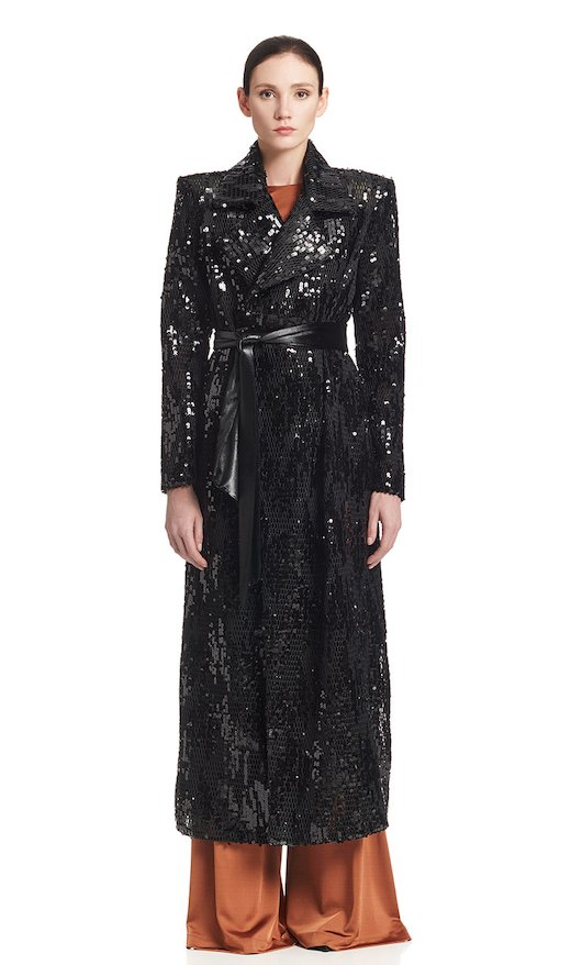 LONG COAT NET SEQUINS - Nero