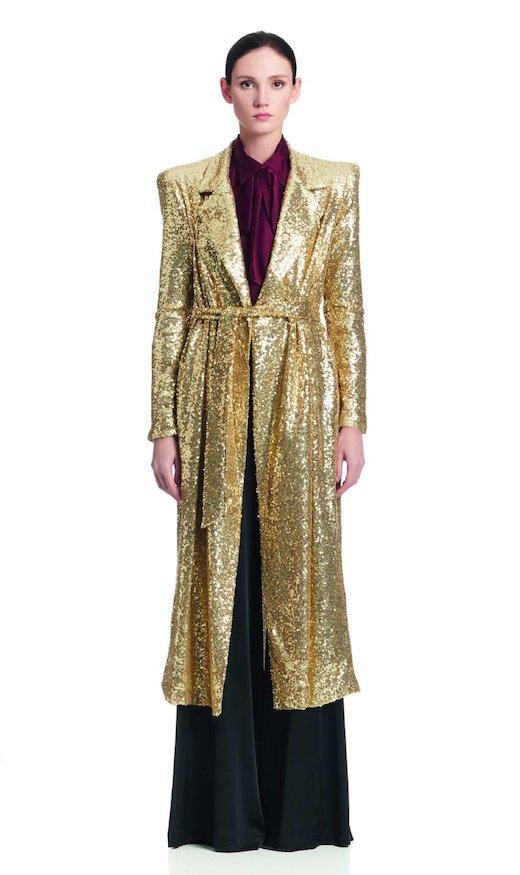 LONG COAT GOLD SEQUINS - Oro