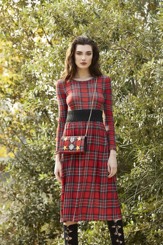 FABRIC CLUTCH AND SHOULDER - Tartan Rosso