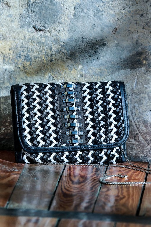 WOVEN ECO-LEATHER BAG - Abigail Bco / Nero