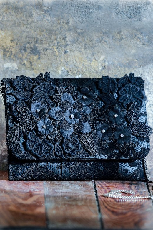 LACE SACHET FLOWER PATCHES TOPS - Pizzo Nero
